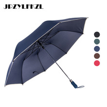 2018 Hot Fashion Men Business Semiautomatic Umbrella Female Windproof Rain Women Quality Durable Golf Folding