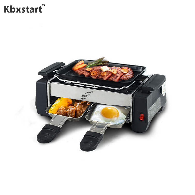 1000W Non-stick Barbecue Electric Raclette Grill For 2 Couples Family Party Smokeless BBQ Grill Raclette Pan Electric Griddle
