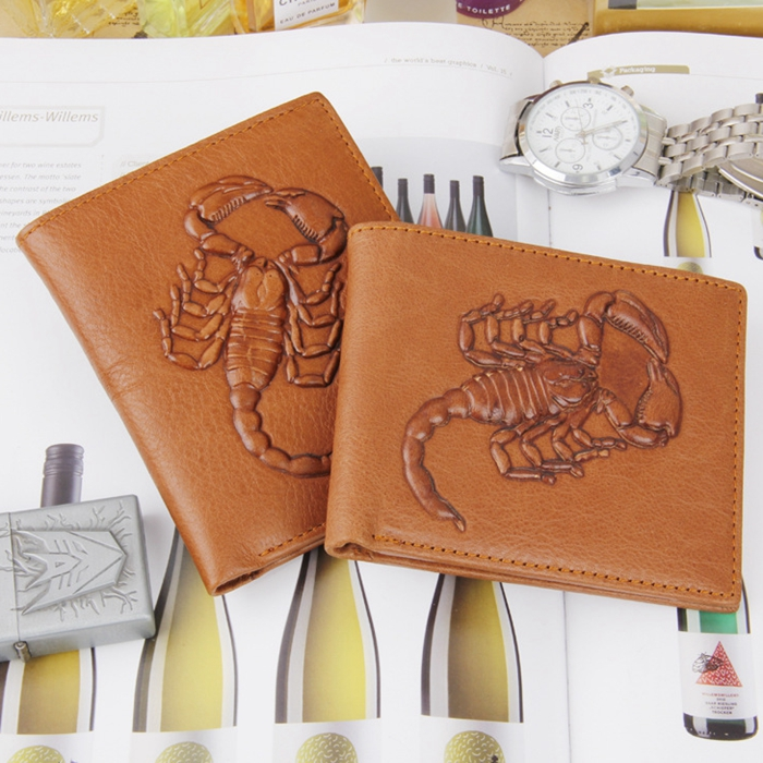 d76e68136b8a US $12.88  Men Wallets Scorpions Pattern Quality 100% Genuine Leather  Wallet Vintage Famous Brand Design Card Holder Purse Bag Coin Pockets-in  Wallets ...