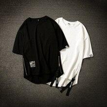 Уличная Хлопковая мужская футболка, футболка средней длины, Мужская футболка в стиле хип-хоп с лентами и боковой молнией, Мужская футболка с коротким рукавом