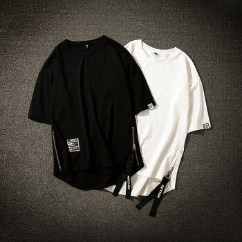 Streetwear Cotton Men T-shirt Half Length Tee Shirt Homme Hip Hop Ribbons Side-zipper Short Sleeve Men T Shirt 1
