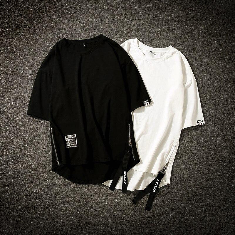 Streetwear Cotton Men T-shirt Half Length Tee Shirt Homme Hip Hop Ribbons Side-zipper Short Sleeve Men T Shirt Футболка