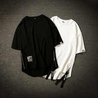 Streetwear coton hommes T-shirt demi-longueur T-shirt Homme Hip Hop rubans côté-fermeture éclair manches courtes hommes T-shirt