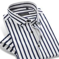 Mens Vertical Stripe Short Sleeve Dress Shirts Lightweight Button Down 97 Cotton Slim Fit Brand Casual