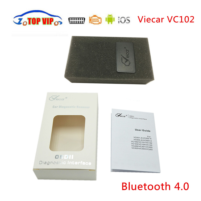 Mini Viecar Bluetooth 4.0 OBD2 Scanner V1.5 ELM327 Auto Car Scanner Diagnostic-Tool Support for IOS /Android with Retail box