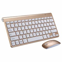 2.4G Ultra Slim wireless keyboard Portable Mute Keys Keyboards mouse combos for Mac Win XP 7 wireless Keyboard and mouse(China)