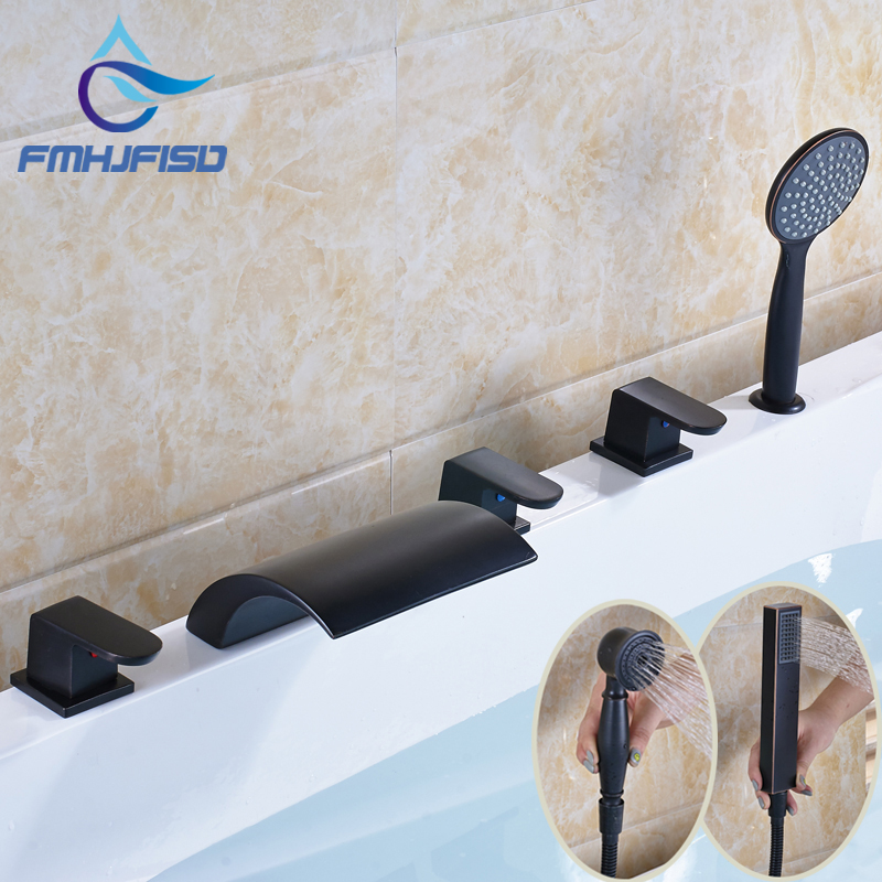 Waterfall Spout Oil Rubbed Bronze Deck Mounted 5pcs One Set Bathtub Mixer Faucet wall mounted wide spread spout bathtub faucet oil rubbed bronze 3 handles mixer