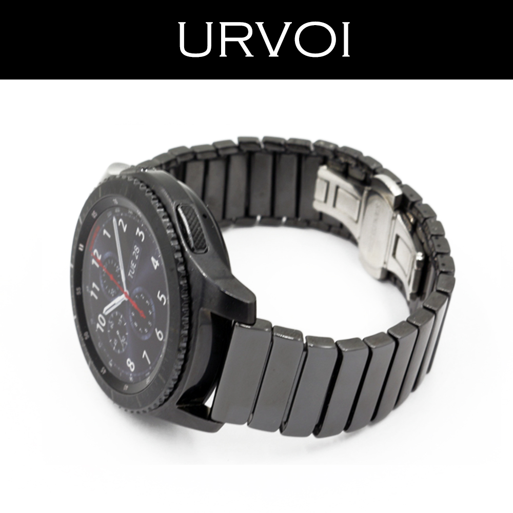 URVOI 22mm band for Samsung Galaxy Gear S3 R760 R77 ceramic link bracelet strap wrist butterfly closure quick release pins urvoi band for samsung galaxy gear s3 r760 r770 strap crazy horse vintage leather with closure classic design replacement 22mm