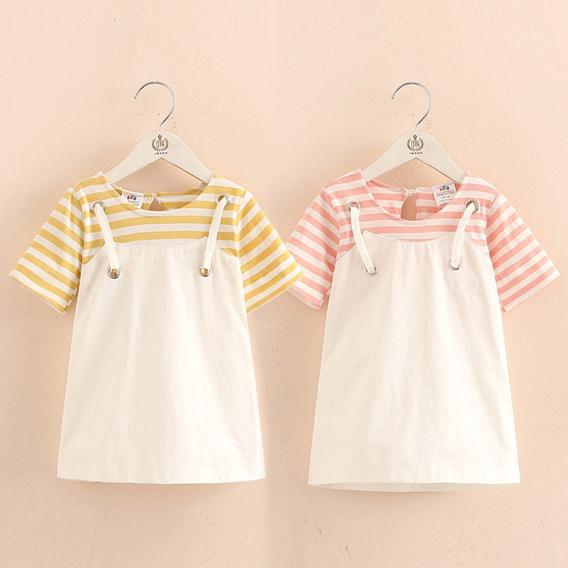 937f6321a0 US $10.26 21% OFF|2018 Summer Little Kids Children Short Sleeve Striped  Fake Two Pcs Suspenders Dresses For Girls of 2 4 6 8 10 12 Years old-in ...