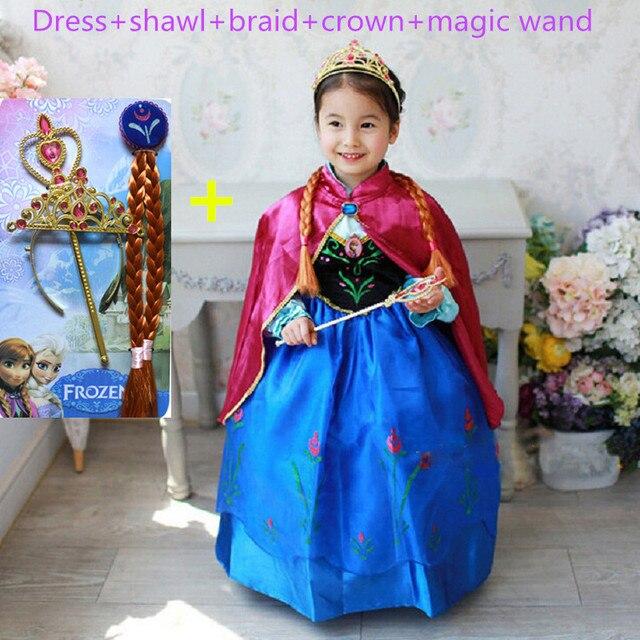Анна платье девушки костюмы алмаз принцесса эльза платье disfraz princesa Congelados ана vestido де феста фантазия infantil meninas