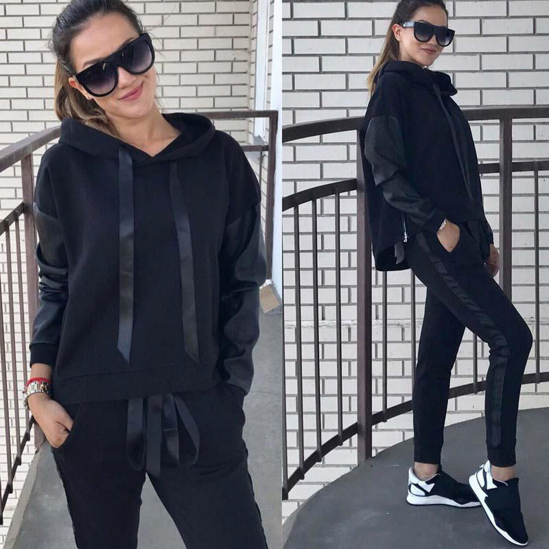 Women TWO PIECE SET Hoodies Sporting Suit Vogue Tracksuit Female Clothing Jogger Pants Sweat Outfit Sweatshirt Winter Sweatsuits