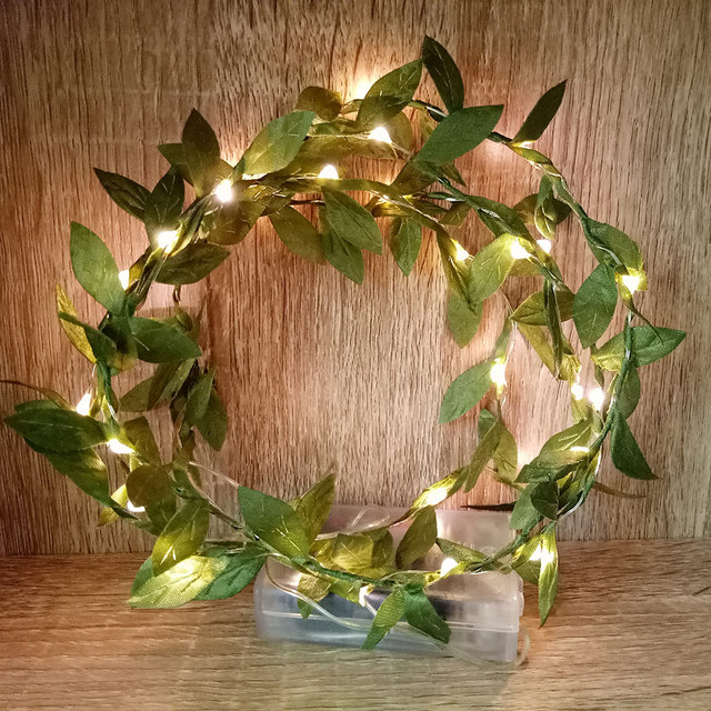 Novelty Leaf Garland With Battery Operated Copper LED Fairy String Lights, Christmas Light ,wedding