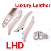 Luxury Leather Left Hand Drive LHD For BMW 5 series F10 F11 520 525 Car Interior Door Handle Inner Panel Pull Trim Cover
