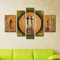 Handpainted Abstract Oil Painting on Canvas Modern African style 5 pcs/set images wall art pictures for living room Home Decor