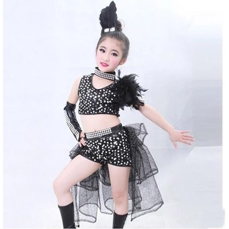 KTLPARTY children girl black silver sequins Jazz dance costume hip hop costume with skirt with feather headband