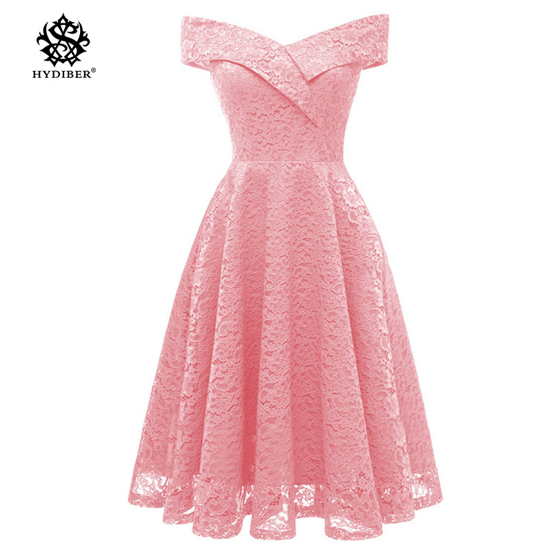 Robe Femme Embroidery Vintage Lace Dress Women Off Shoulder Dresses short Sleeve Casual Evening Party A Line Plus size Dress