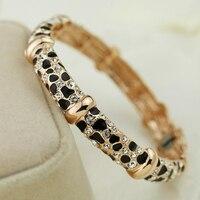 Vintage Black Leopard Print Crystals Bangles Fastness 18K Gold Plated Silver Bangle Bracelet Wristband For Women