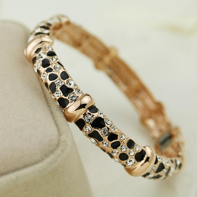 Vintage Black leopard print Crystals Bangles Fastness  Gold Plated Silver Bangle&bracelet Wristband For women Wedding jewelry