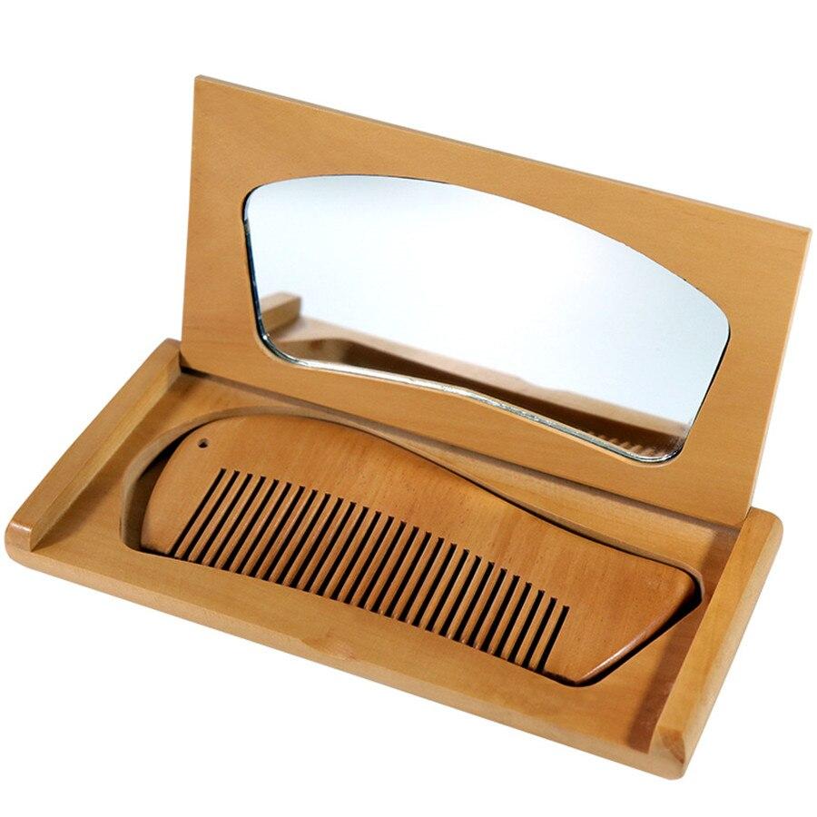 Pente de madeira espelho caixa de presente