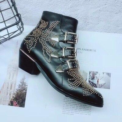 Cuir Boucle Complexe Mode De As as Bottes Pleine Chaussures Épais En Ceinture Martin Show Personnalisé Avec Rivet Femmes Show Pointu zfzwxqrO8