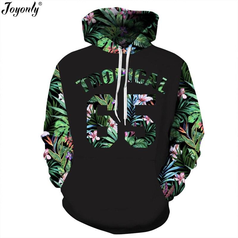 Joyonly New 2018 Green Leaves Hoodies Women/Men 3d Sweatshirt Print Number 65 Letters Flowers Hooded Hoodies Graphic Hoodie Tops