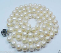 FREE SHIPPING HOT sell new Style >>>>9 10mm genuine Freshwater Cultured White Baroque pearls Necklace 80cm