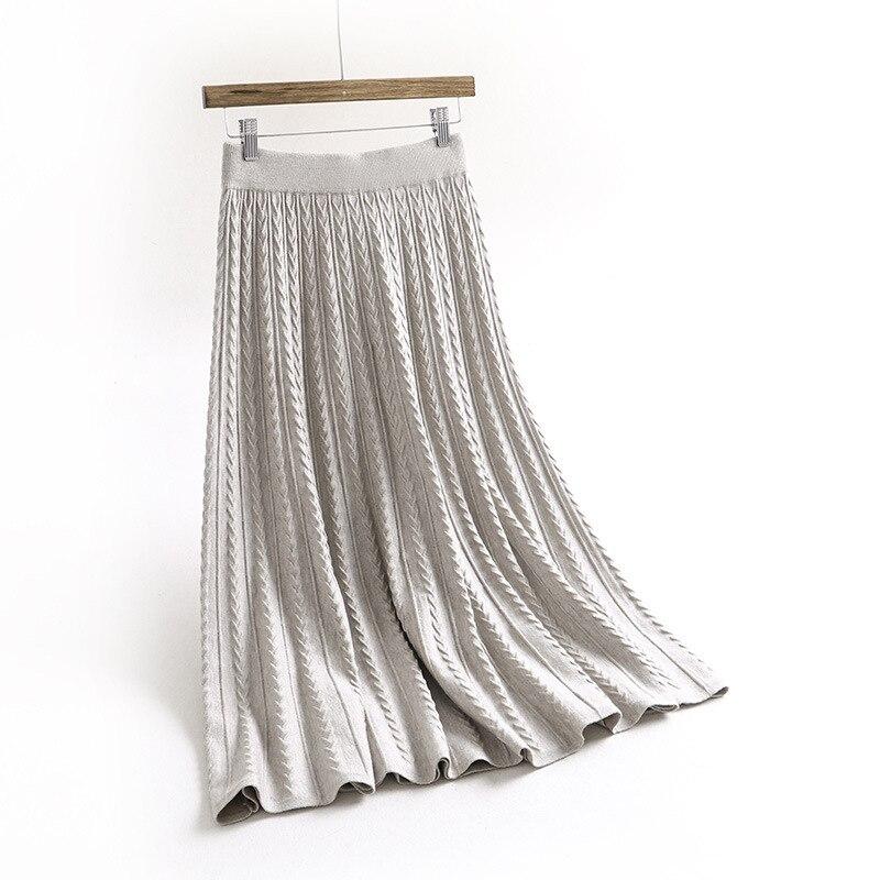 gris Mujer negro Nueva Alta Punto invierno Beige Largo Paraguas Jacquard Lana Cintura marrón Faldas De Otoño La Retro Falda Palabra 2019 qwEWUCRfx