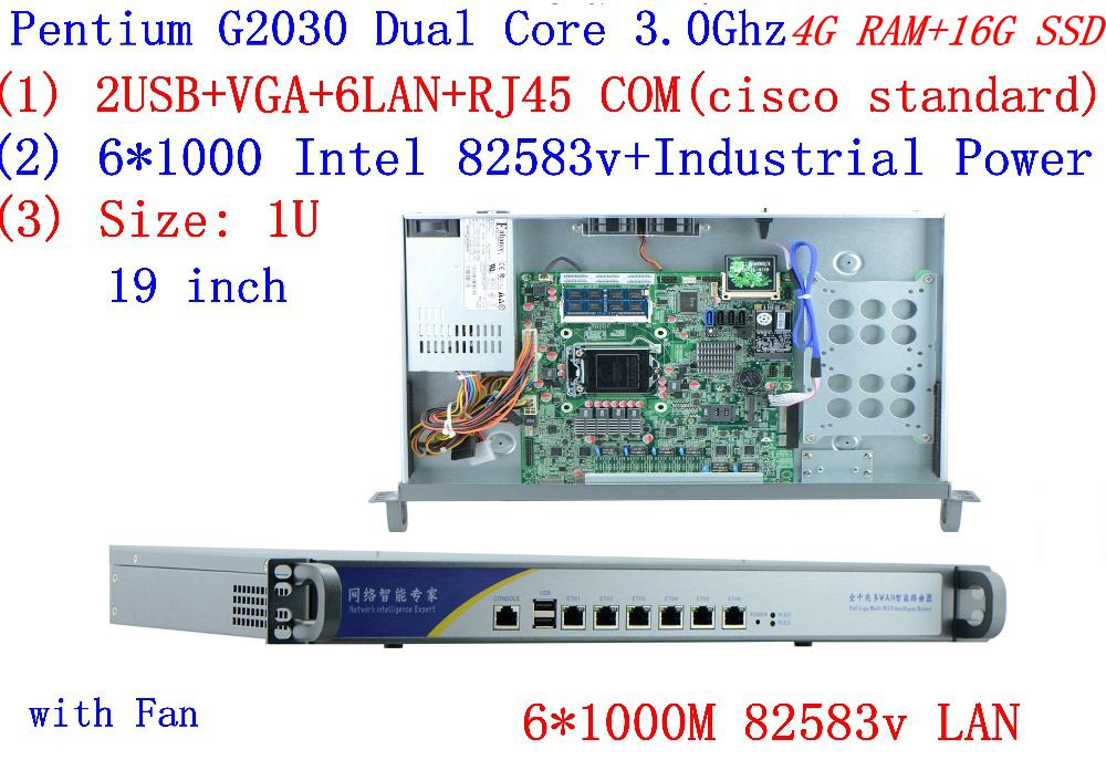 Cheap Server Rack 1U Routers With 6*1000M 82583V Gigabit Inte Pentium G2030 3.0Ghz 4G RAM 16G SSD
