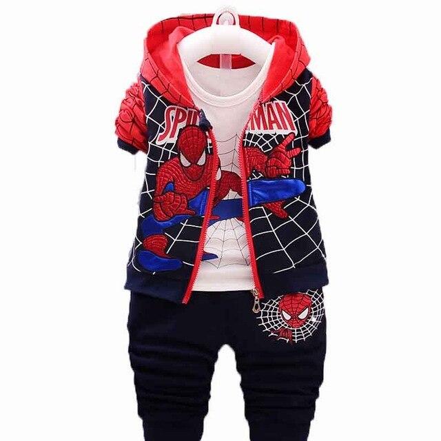 Kids Boys Spiderman Winter Tracksuit Hoodies Tops Coat Long Pants Sets Outfits