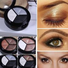 Smoky Cosmetic Set 3 colors Professional Eye Shadow Powder Palette Matt Eye Shadow Pallete цена