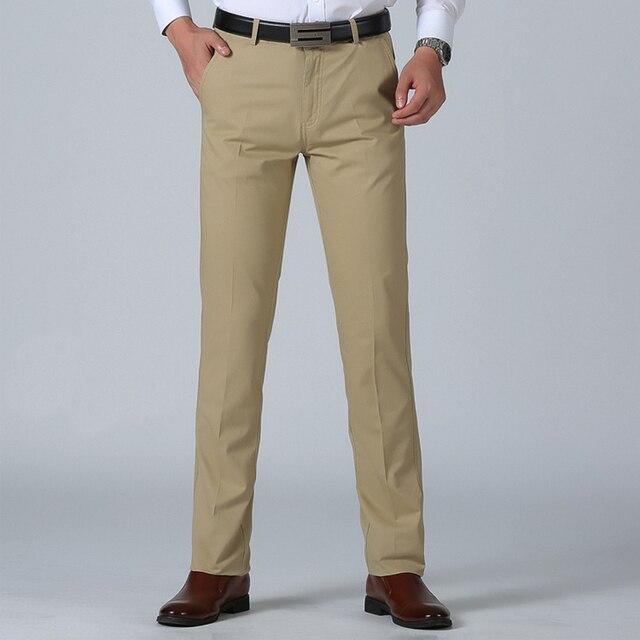 21e989c9a4c Pants Men Size 29- 42 Spring Straight Pant 100% Cotton 55-120 kg Men Wear  Comfortable Soft Trousers Male Clothing High Quality