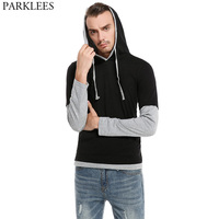 Nep Tweedelige Hoodie T-shirt Mannen Tee Shirt Homme 2017 lange Mouw Hiphop Hipster T-shirt Casual Pocket Mens Hoodies T Shirts