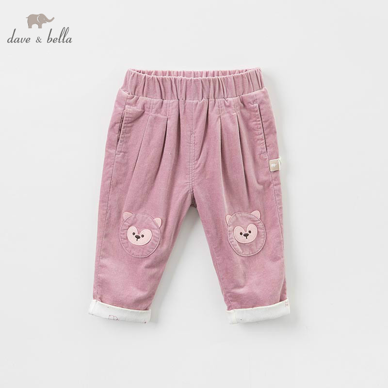 DBM8627 dave bella autumn baby girl fashion pants children full length kids pants infant toddler grey pink trousers db6938 dave bella winter baby girls full length kids fashion pink pants children trousers