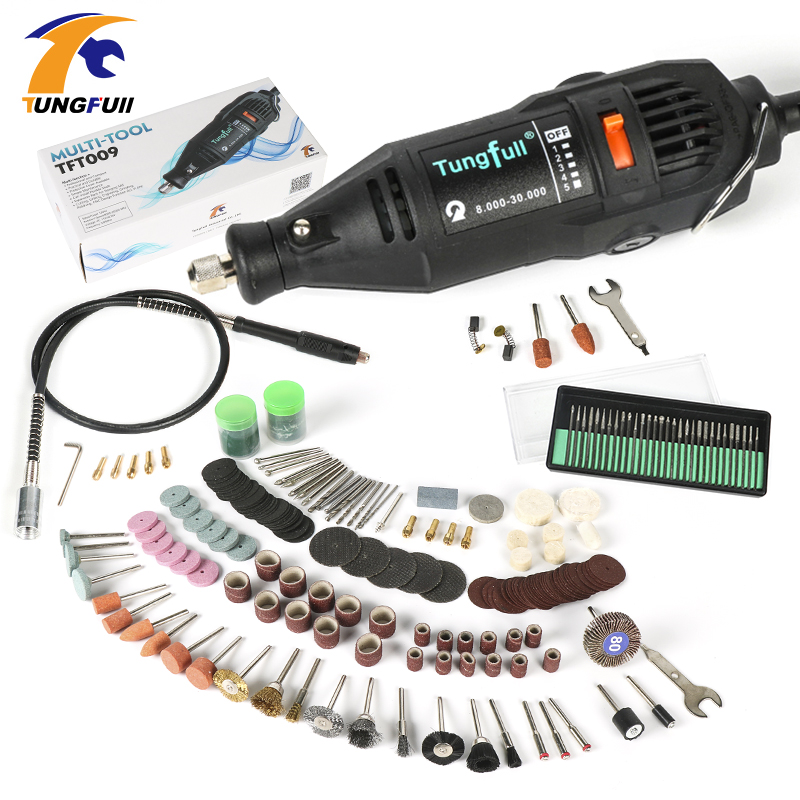 Tungfull Dremel Style Electric Rotary Tool Variable Speed Mini Drill with Flexible Shaft and 192PC Accessories Power Tools 130W  tungfull 130w dremel style electric rotary tool variable speed mini drill with flexible shaft and 124pc accessories power tools