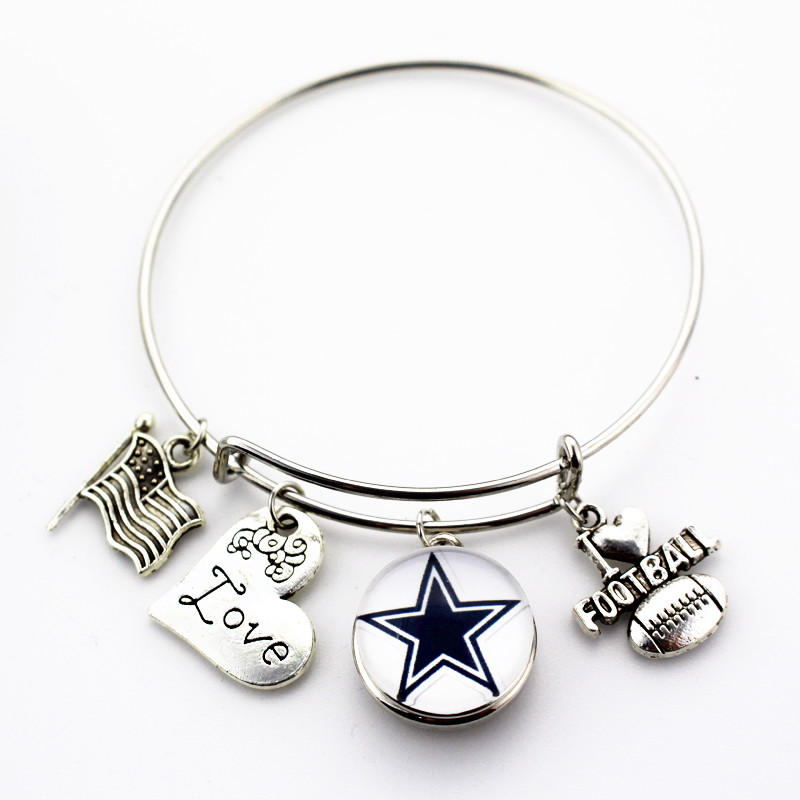 6pcs Dallas Cowboys Football Love Ginger Snap Bracelet Jewelry Expandable Adjule Wire Hook Bangles In From
