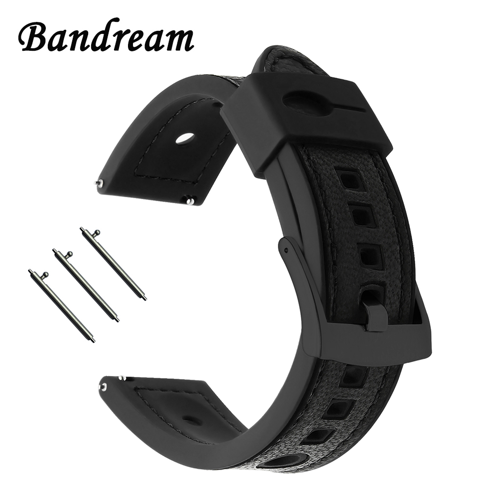 22mm Genuine Leather + Silicone Rubber Watchband Universal Watch Band Quick Release Strap Stainless Steel Clasp Wrist Bracelet genuine leather watchband for suunto 3 fitness smart watch band quick release strap stainless steel clasp wrist bracelet
