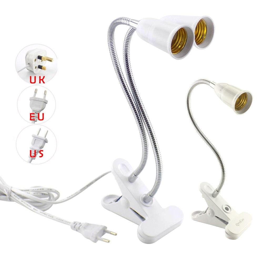 E27 Flexible lampe base support Table bureau Clip E27 Base lampe à LED pour livre grandir lumières 360 titulaire EU US UK On off interrupteur prises
