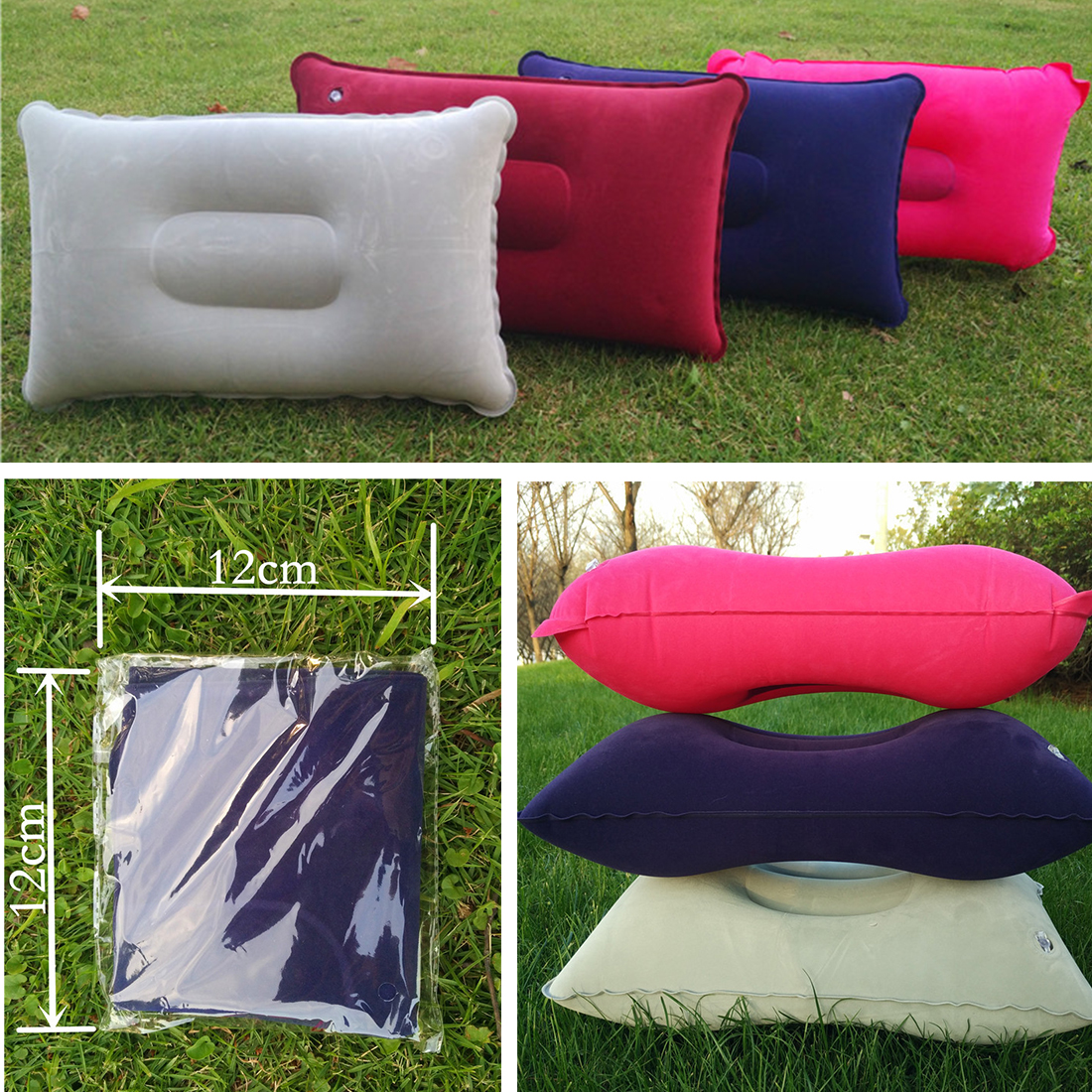 Flocked Inflatable Air Seat Cushion Pad for Outdoor Camping Sports Wheel Chair