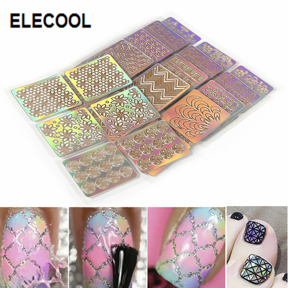 ELECOOL Colourful Mixed 3D Design Nail Art Hollow Stickers Stencil Tip Template PVC Manicure Decals Decoration 6PCS