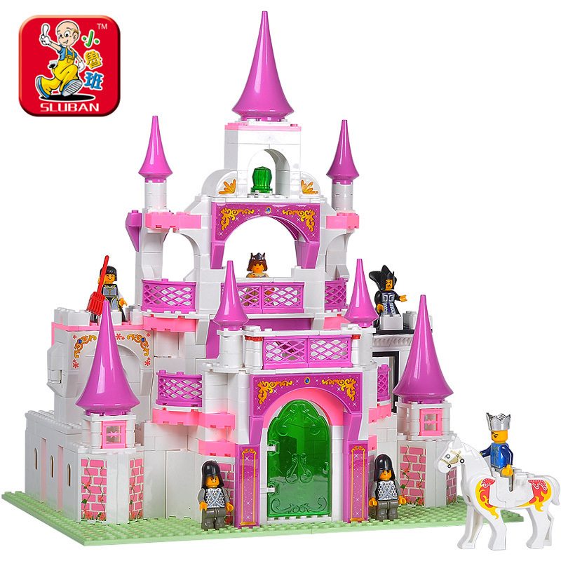 Sluban 2017 New Pink Dream Series Dream Princess Castle Building Block Sets 508pcs Educational DIY Construction Gift Brick toy sluban pink dream girls