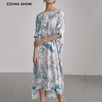 2019 New Summer Round Neck Half Sleeve Blue Pattern Printed Loose Long Big Size Dress Women Fashion Satin Dresses Vestido