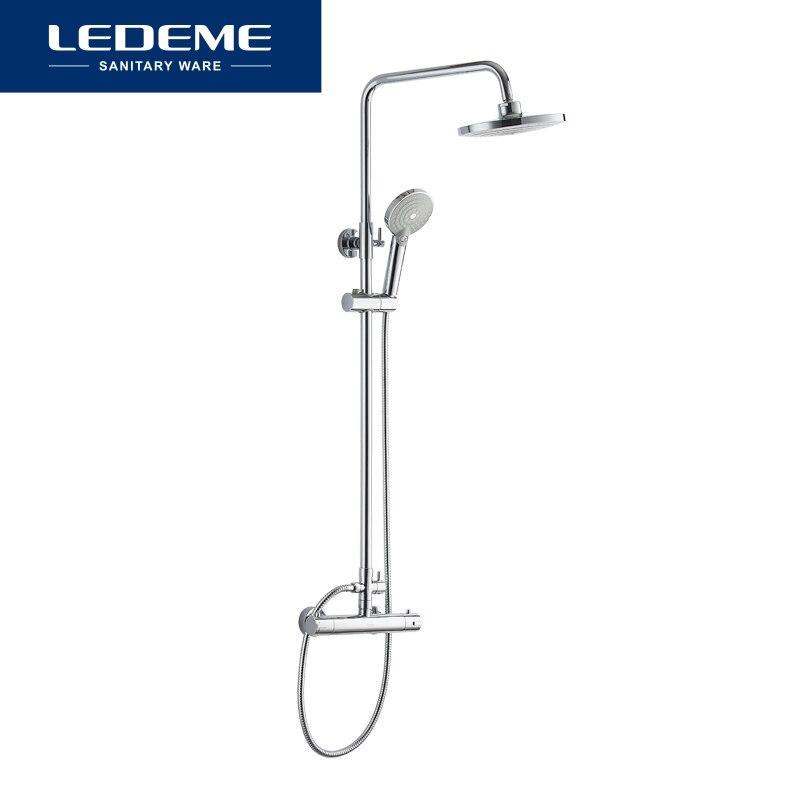 Ledeme estilo moderno conjunto torneira do chuveiro do banheiro chuvas cabeça torneiras misturadoras chuveiro de mão cachoeira chuva banheiro l2410 - 6
