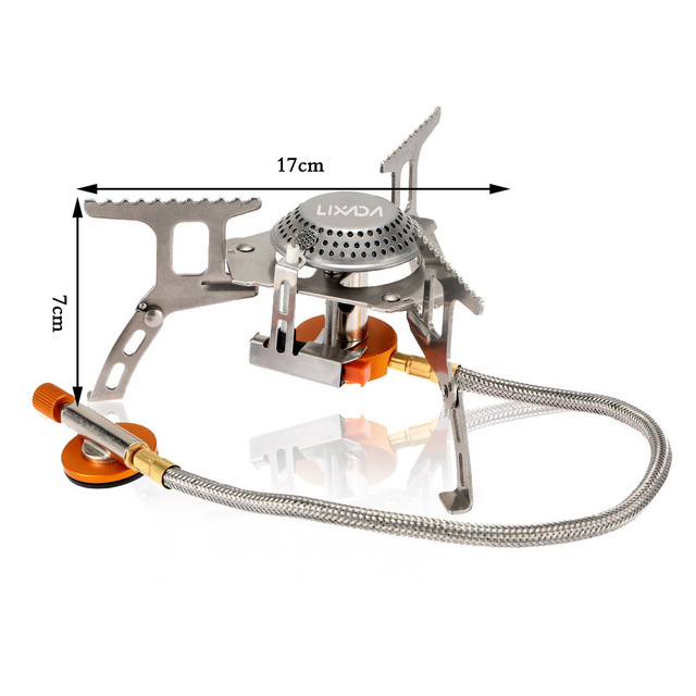 Lixada Portable Outdoor Folding Gas Stove Camping Hiking Picnic Stove Camping Stove Split Burner 3000W Stainless Steel Material