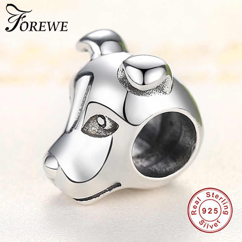 Parceiros Leais Forewe 925 Sterling Silver Adorável Cão BULLDOG Cachorrinho Animais Beads fit Pulseiras Mulheres Charme Jóias DIY