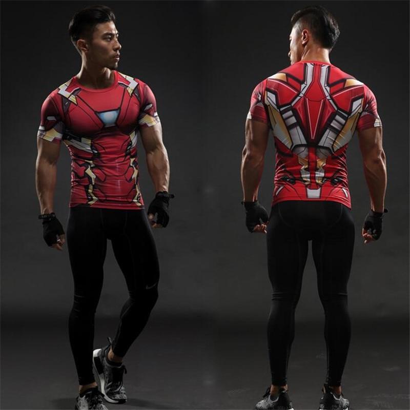 Ironman amazing 3D printing Compression T-Shirt Men Rashguard Fitness short sleeves Base Layer Skin Tight Weightlifting T shirts