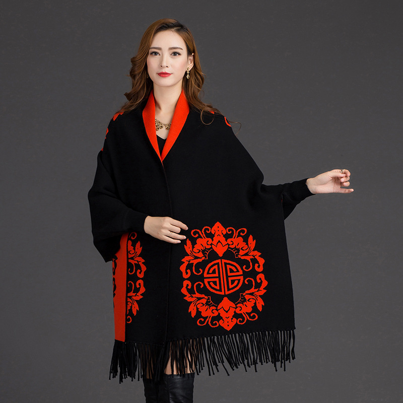 Women Fringe Ethnic Floral Print Women Batwing Fashion Cape Poncho Knit Top Cardigan Sweater Coat Hip Long Scarf Shawl 6 colors