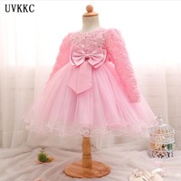 2018 Fashion Flower Girl Dress Appliques Ball Gowns Girl Long Sleeve Wedding Party Dress Spring Princess