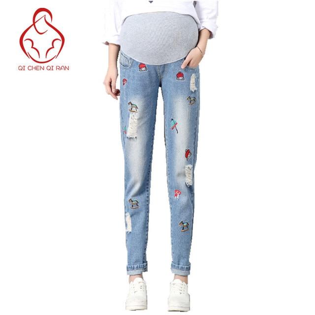 2dc920c6c7bce High quality new jeans pregnant women fashion hole pregnant women pants  maternity pants stretch belly maternity pregnant clothes