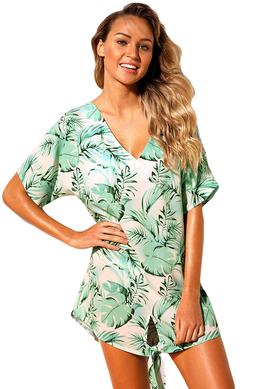 Sexy Tie The Knot With Palm Printed Beach Cover-up Dress Women V Neck Short Sleeves Swimwear Skirted Bathingsuit Summer Wear