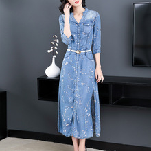 Spring and summer plum printing Chinese style lyocell fiber denim dress female long NW18A1969